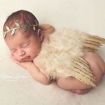 Handmade Gold Newborn Baby Girl / Boy Photography Props Infant Branch Hairband Feather Angel Wings Set Roba De Bebe Party Outfit