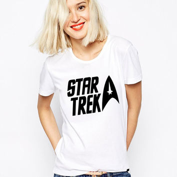 Star Trek T Shirts Women O Neck Vulcan Longevity Womens Tees Casual Short Sleeves Cotton Tops Euro Size Free Shipping