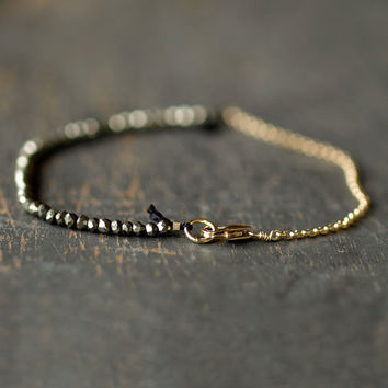 Pyrite Fool's Gold Bracelet Delicate Gemstone Sparkle Goldfill Handmade Jewelry