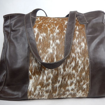 Charlie Leather Co. Brown Leather Pony Hair Bag