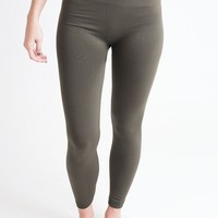 Legs For Days Olive Fleece Lined Leggings