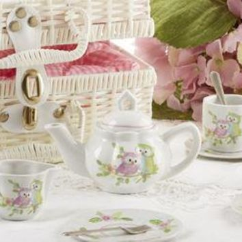 Pastel Owls Childrens Porcelain Tea Set in Wicker Style Basket - FREE Tea Included!