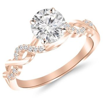 0.5 Carat Twisting Infinity Gold and Diamond Split Shank Pave Set Diamond Engagement Ring 14K Rose Gold with a 0.37 Carat J-K I2 Center