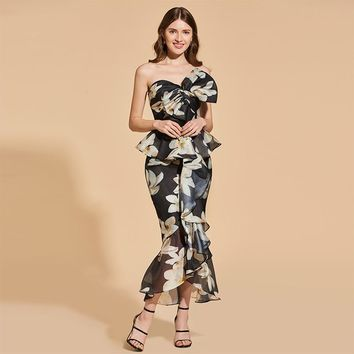 Printed strapless cocktail dress bowknot sleeveless tea length ruffles gown women party custom mermaid cocktail dresses