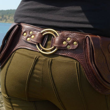 Leather Utility Belt BaG DOUBLE RING DBROWN by offrandes