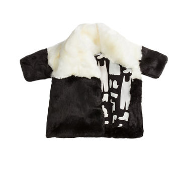 OMAMImini Colorblocked Faux Fur Coat - White -