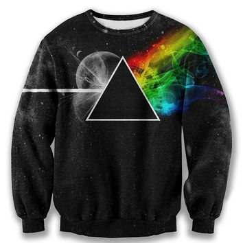 Black Men Printed Hoodies 3d Sweatshirt Pink Floyd Graphic Dark Side Of The Moon Triangle Galaxy Pullovers Men's Clothing Tops