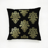 Floral Pattern Pillow, Gold Pattern Pillow, Home Decor, Cushion Cover, Throw Pillow, Bedroom Decor, Modern Pillow, Bed Pillow, Fashion