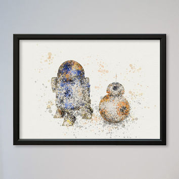 R2D2 BB-8 Poster Watercolor Print Wall Decor Fine Art Giclee Print Star Wars Wall StarWars Watercolor Print Poster Nursery Art New Droid