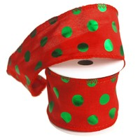 Green Polka Dots Christmas Ribbon Wired Edge, Red, 2-1/2-Inch, 10 Yards