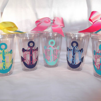 Monogrammed anchor tumbler  16 ounce cups by ThePoshDiva on Etsy