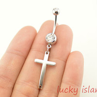 belly ring,cross belly button rings,cross bellybutton jewelry,cross body piercing,friendship bellyring,bff gift