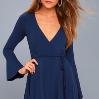 Plot Twist Navy Blue Flounce Sleeve Wrap Dress