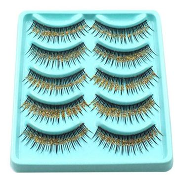 natural false eyelashes Thick Stage Cross Bridal False Eyelashes Gold Sequins False Eyelashes Soft Eyelash Extension Make up