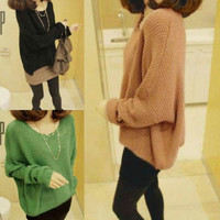 HOT Womens Knitted Pullover Batwing Outwear Lady Casual Loose Sweater Coat Tops