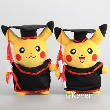 "NEW  Pikachu Cosplay Stuffed Dolls Cute Rilakkuma Graduate Fitting Gift  Plush Toys 11"" 27CM"