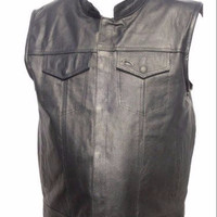 Mens nekid cow black buffalo leather soa motorcycle sons of anarchy outlaw open collar club biker vest with snap and zipper front closure