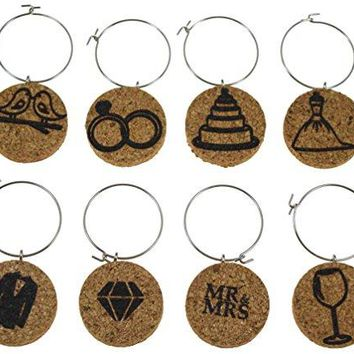 Cork Wine Glass Charms 20+ Unique Designs  Set of 8  Wine Inspired Designs Bottle Cheese Barrel French Flag Grapes Eiffel Tower  Tags to Mark Your Drinks Wine