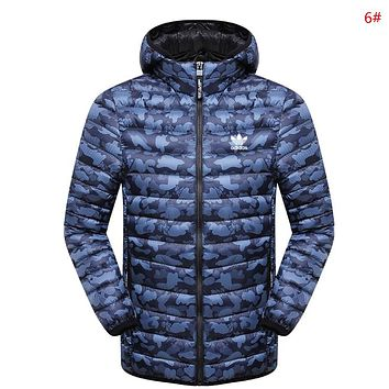 Adidas Fashion Autumn And Winter New Letter Leaf Print Camouflage Women Men Keep Warm Top Coat Cotton Clothing