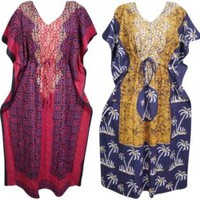 4PC Womens Cotton Kimono Caftan Printed Beach Cover up Resort Wear House Dress