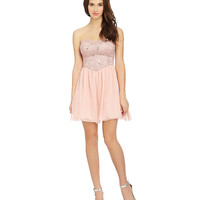 B. Darlin Strapless Lace Chiffon Dress | Dillards.com