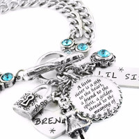 Personalized Sisters Charm Bracelet, Little Sister