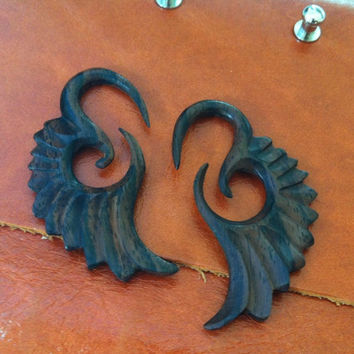 1 PAIR SONO WOOD Angel Wing Earring 6 Gauge 4mm size
