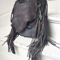 Taupe grey hobo bag purse rocker rock style fringe goth people rocknroll gothic rockstyle rock star metalhead studs sweetsmoke designer
