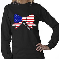 American Flag Bow Long Sleeve T