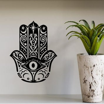 Wall Decals Fatima Hand Hamsa Indian Buddha Om Sign Floral Design Yoga Gym Home Vinyl Decal Sticker Kids Nursery Baby Room Decor kk142