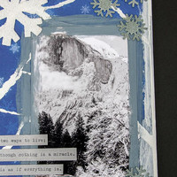 Snow Covered Half Dome in Yosemite Mixed Media Painting with Black & White Photo and Inspirational Quote by Albert Einstein on Canvas Board