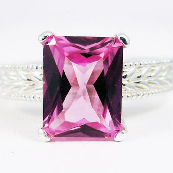 Emerald Cut Pink Sapphire Engagement Sterling Silver Ring