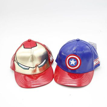 Trendy Winter Jacket Children Leather Baseball Cap New Fashion Children Cartoons Casual Ourdoor Cap Cosplay Captain America Iron Man Snapback hats AT_92_12
