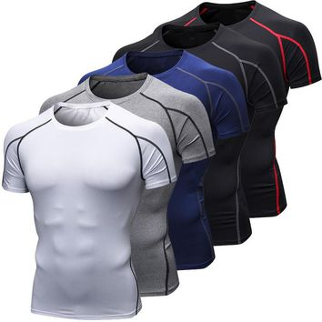 CALOFE Men's Compression Sports Tee Running T Shirts Bodybuilding Jogging Tee Tops Tops Baselayer Athletic Mens T-shirts