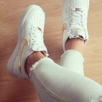 NIKE Women Men Running Sport Casual Shoes Sneakers Air force low help shoes White golden