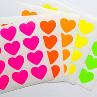60 red neon sticker, heart sticker, bright paper sticker, letter envelope seal, heart label, self adhesive, bag seal, gift packaging 1""