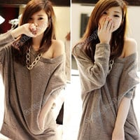 New Women's Long Batwing Sleeve Solid Boat Neck Sexy Loose T-Shirt Tops Blouse