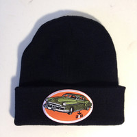 Black beanie with hot rod