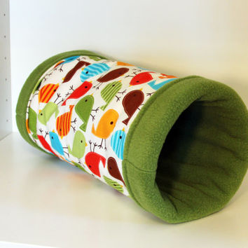 Guinea Pig Snuggle Tunnel, Reinforced Hedgehog Cozy Cuddle Tube - Multicolour Birds with Green Fleece