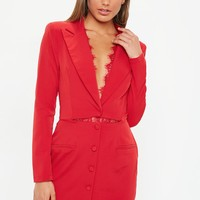 Missguided - Red Lace Insert Cut Out Blazer Dress