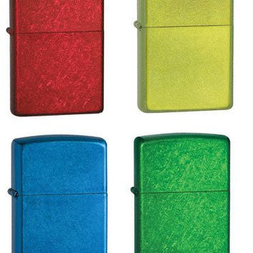 Zippo Lighter Set of Four - Candy Apple Red, Lurid Green, Cerulean Blue and Meadow Green Logo