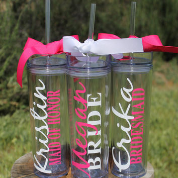 Set of 3 Tall Skinny Personalized Tumblers - Great Gift - Bridesmaids Gift - Bridal Party Tumblers - Bachelorette Gifts - Wedding Tumblers
