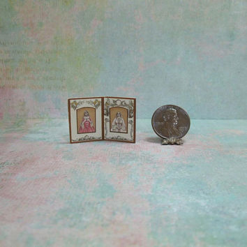 Dollhouse Miniature Double Frame with Lovely Ladies
