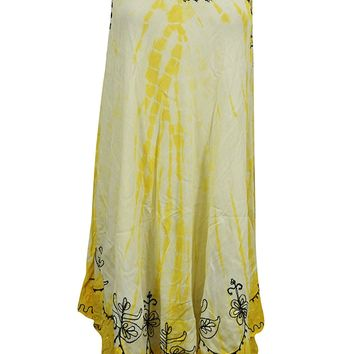 Mogul Womens Hippie Dress Embroidered Sleeveless Yellow Sundress XXL: Amazon.ca: Clothing & Accessories