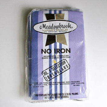 Vintage Meadowbrook Luxury Muslin Pillowcases Set of 2 In Package New Old Stock 20 X 26 Inch Purple White Stripe Pillow Cases