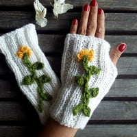 White Gloves,Knit Mittens,Mittens,Hand Warmer,Bright Gloves,Winter Gloves,Flower Gloves,Women Gloves, Arm Warmers, Gift Ideas,Jasminejasmine