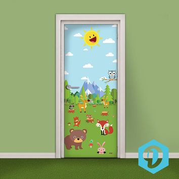 Kids Door Sticker - Vinyl Wallpaper - Adhesive Decal Wrap - Cute Cartoon Animals on the Meadow