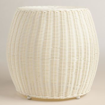 White All Weather Wicker Carlos Stool