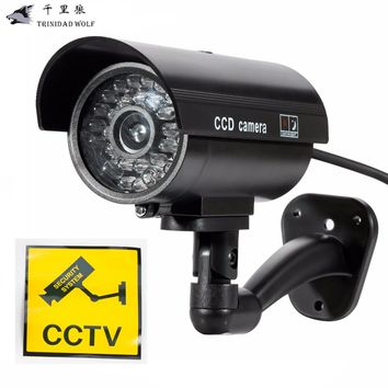 TRINIDAD WOLF Fake Dummy CameraWaterproof Security CCTV Surveillance Camera With LED light