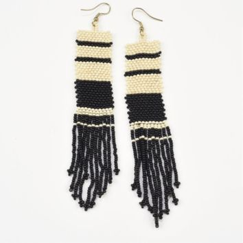 Ink + Alloy | SEED BEAD EARRING WITH FRINGE, BLACK & WHITE STRIPE